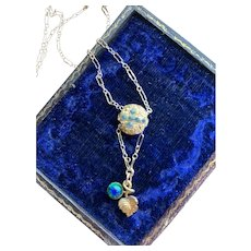 Watch Chain Slide Necklace w/ Peacock Glass Pendant