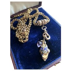 14KT Gold Watch Chain Necklace w/ Slide, Enamel Charm and Amethyst Heart