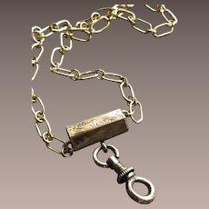 9KT Solid Gold Engraved Slide Chain for a Locket Necklace