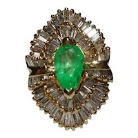 Ring Colombian Emerald Diamond Ballerina Size 7 3/4 14k Yellow