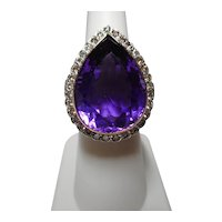 Ring Cocktail Amethyst Diamond 18k