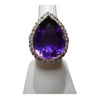 Ring Cocktail Amethyst Diamond 18k Size 6 1/4