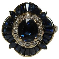 Designer 1980's Natural Sapphire Diamond Size 9 14k Yellow Ring