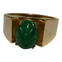 Ring 1.09 carat Natural Green Carved Cabochon Emerald Beryl Gemstone 14k 1960's