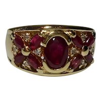 Peter Brahms 14k Designer Diamond Ruby Ring 1970's