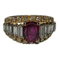 18k Diamond Ruby Gemstone Ring Top Quality