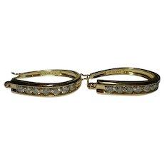 .70 points 14k Hoop Yellow Channel Diamond Earrings