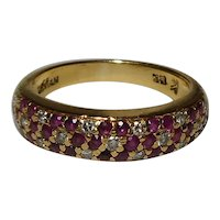 LeVian 18k Designer Pave Diamond Ruby Ring Size 6 1990's
