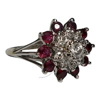 14k Diamond Ruby Ring Size 6 1/2