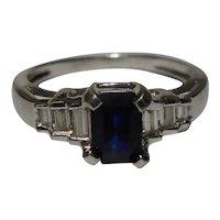 Natural Sapphire Diamond Ring Size 6