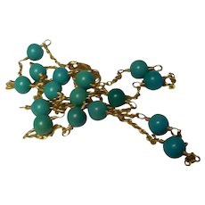 14k Yellow Gold Natural Persian Turquoise Bead Gemstone Necklace 18-Inch