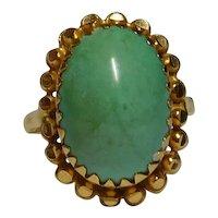 21k Yellow Natural Persian Turquoise Gemstone Ring