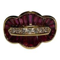 18k Diamond Ruby Ring Size 8 1/2