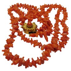14-inch 1800's Natural Un-dyed Coral Hand Carved Strand Necklace