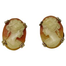 18k Carved Italian Helmet Shell Cameo Post Earrings 1970-1980s