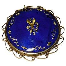 Pendant Brooch Pin 14k handmade Blue Enamel