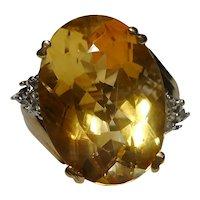 10k Citrine Diamond 1980's Quality Ring
