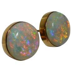 14k 1950-1970's Designer Tiffany & Co Big Australian Crystal Opal Earrings!