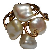 Ring White Cultured Freshwater Pearl Diamond Size 6 3/4 14k