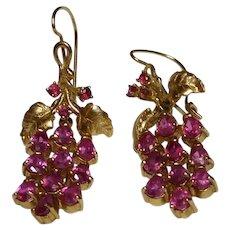 18k Diamond Ruby Dangle Lever-back Earrings