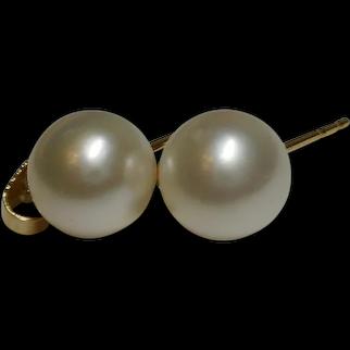 14k Cultured Saltwater Pearl Akoya Pearl Classic Post Back Earrings