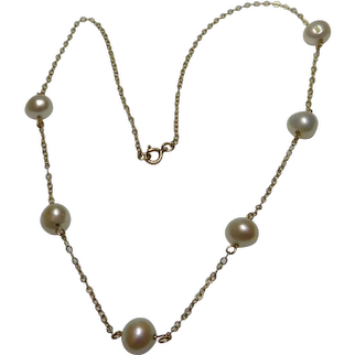 6.0 mm-6.5 mm Cultured Freshwater White Pearl Tin Cup 14k Strand Necklace