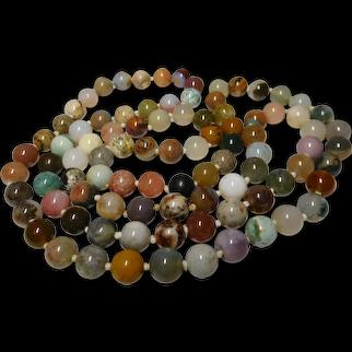 31-inch length Multi-Color Quartz 7.0 mm-8.0 mm Bead Strand Necklace