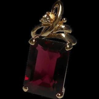 14k Pendant Pinkish Color Rhodolite Garnet Diamond
