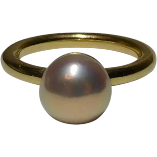 Ring Designer Iridesse 9.0 mm Cultured Saltwater Akoya Pearl Size 7 1/4 18k