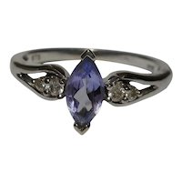 Ring 10k Light Blue Tanzanite Diamond Size 5