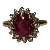 14k Diamond Ruby Ring Size 7