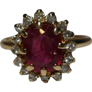 14k Diamond Ruby Ring Size 7