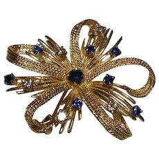 14k Brooch Pin Diamond Sapphire
