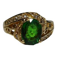 Tsavorite Garnet Diamond Ring Size 7 14k