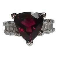 18kt Diamond Rubellite Tourmaline Gemstone Ring