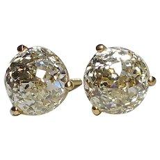 4.36 14k Crown of Light Cut Diamond Solitaire Stud Earrings