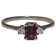 14k Pink Tourmaline Gemstone Diamond Ring