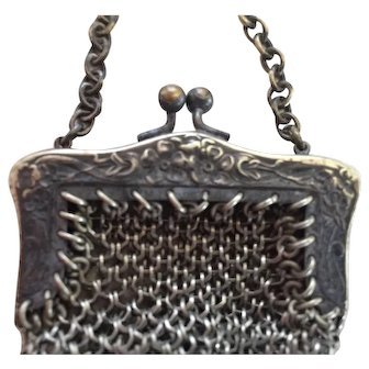 Old Silver Mesh Doll Purse, Small