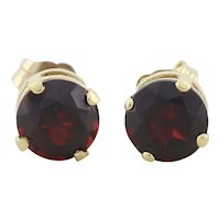 14k Yellow Gold Natural Garnet Earrings Stud Post Earrings