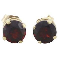 14k Yellow Gold Natural Garnet Earrings Stud Post Earrings