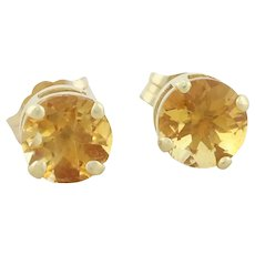 14k Yellow Gold Natural Citrine Earrings Stud Post Earrings