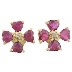 14k Yellow Gold Natural Ruby and Diamond Earrings Stud Post Earrings