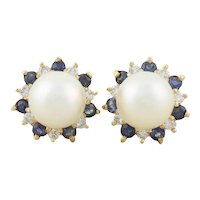 14k Yellow Gold Freshwater Pearl , Natural Blue Sapphire and Diamond Earrings Stud Post Earrings