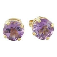 14k Yellow Gold Natural Amethyst Earrings Stud Post Earrings
