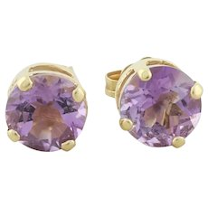 14k Yellow Gold Natural Amethyst Earrings Stud Post Earrings
