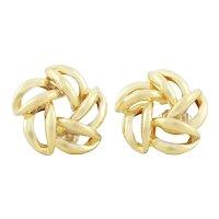14k Yellow Gold Flower Earrings Stud Post Earrings
