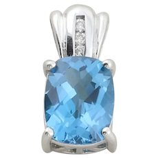 10K White Gold Natural Blue Topaz and Diamond Pendant Only
