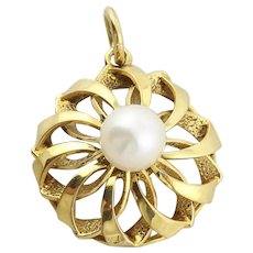 14k Yellow Gold Pearl Pendant Only