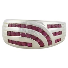 Sterling Silver Natural Ruby Band Ring size 10 1/4