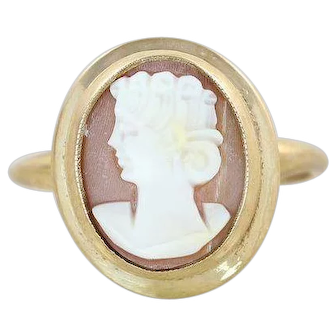 Cameo Shell Ring 10k Yellow Gold Size 5 1/4